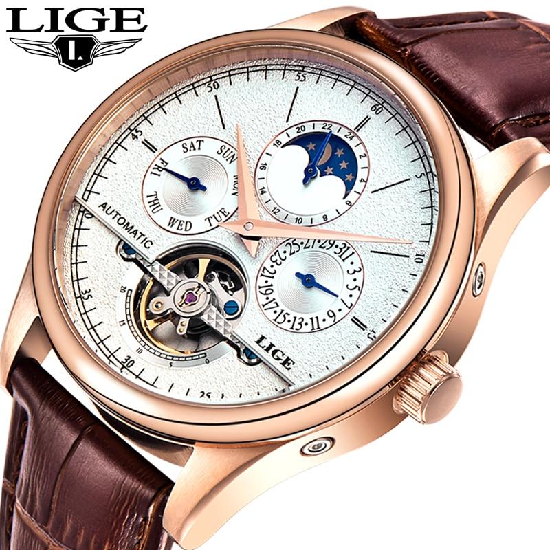 LIGE Relojes de los hombres reloj mecánico automático Tourbillon reloj de cuero moda Casual estilo Retro reloj Relojes Hombre