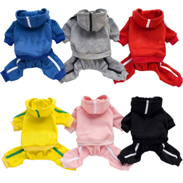 Cotton Multicolor Hooded Dog Jumpsuits