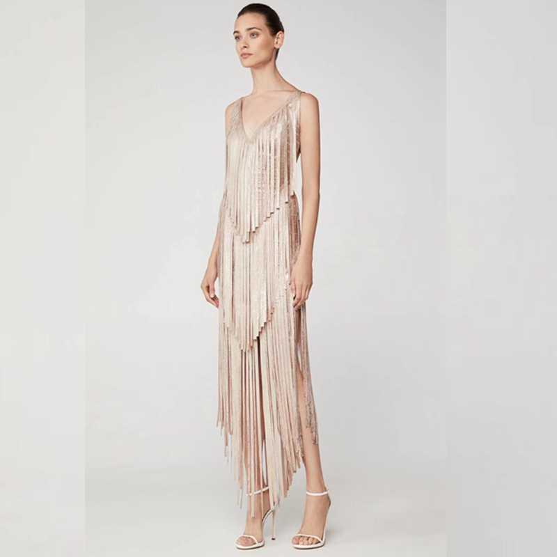 Fashion Gold Tassels Sexy V Neck Women Autumn Derss Sleeveless Solid Bandage  Dress 2018 Newest Backless 3504eb958ecf