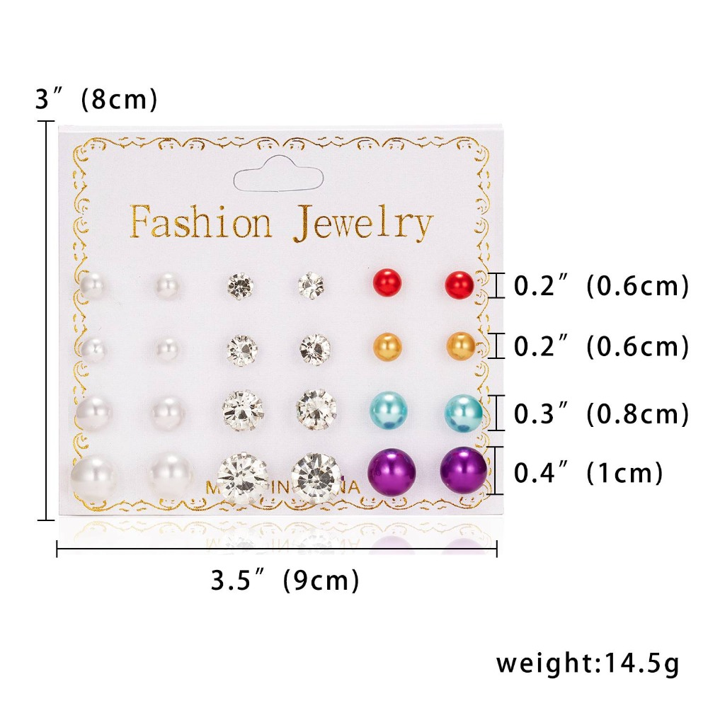 12 Pairs set Stud Earrings Set With Card Transparent Zircon Balls Love Flowers Earrings Women Imulated