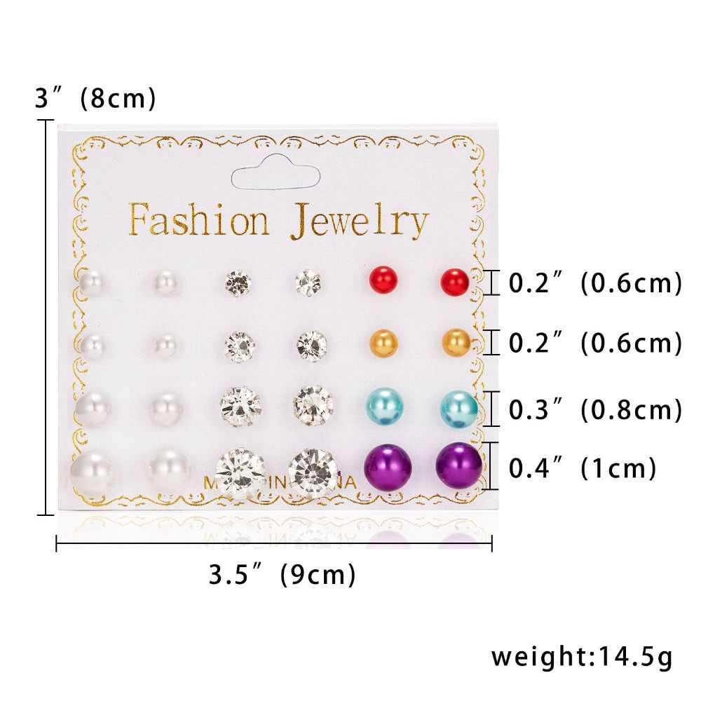 12 paare/satz Stud Ohrringe Set Mit Karte Transparent Zirkon Kugeln Liebe Blumen Ohrringe Frauen Imulated Perle Ohrringe Schmuck