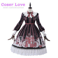 Classic Lolita OP Dress Snow Country Girl Print Bow Ruffle Black Lolita One Piece Dress
