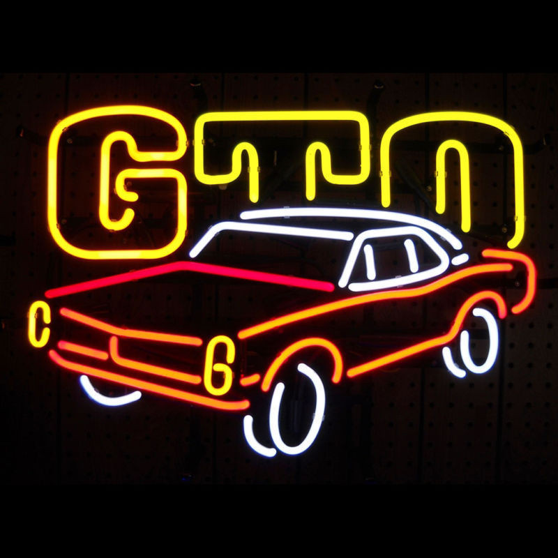 17*14  AMERICAN AUTO PONTIAC GTO  CAR NEON SIGN Signboard REAL GLASS BEER BAR PUB  display  Restaurant   outdoor Light Signs custom signage neon signs pizza beer real glass tube bar pub signboard display decorate store shop light sign 17 14