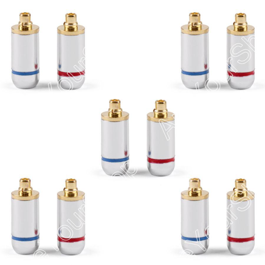 Areyourshop 5 Paar Schwarz Silber 3,2mm Kopfhörer DIY Pin Stecker Für MMCX UE900 SE535 SE215 W10 W20 W30