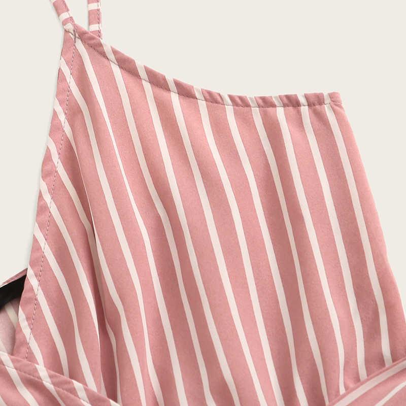 SHEIN Striped Wrap Cami mono mujer mono con cinturón mujeres vacaciones playa sin mangas Sexy mono 2019 verano