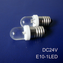 High quality E10 led 24v instrument lights,24vdc led e10 bulbs,24v E10 LED indicating lamp,e10 led light free shipping 10pcs/lot