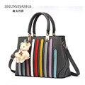 Women Deep Blue Messenger Bags Female Pu Leather Handbags Noble Single Shoulder Bags For Ladies Simple Tote Bag 8406