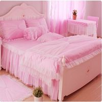 Korean style bed set Lace Ruffles bedspreads bedding sets 4pcs pink princess duvet cover bedclothes bed skirt pillowcases cotton