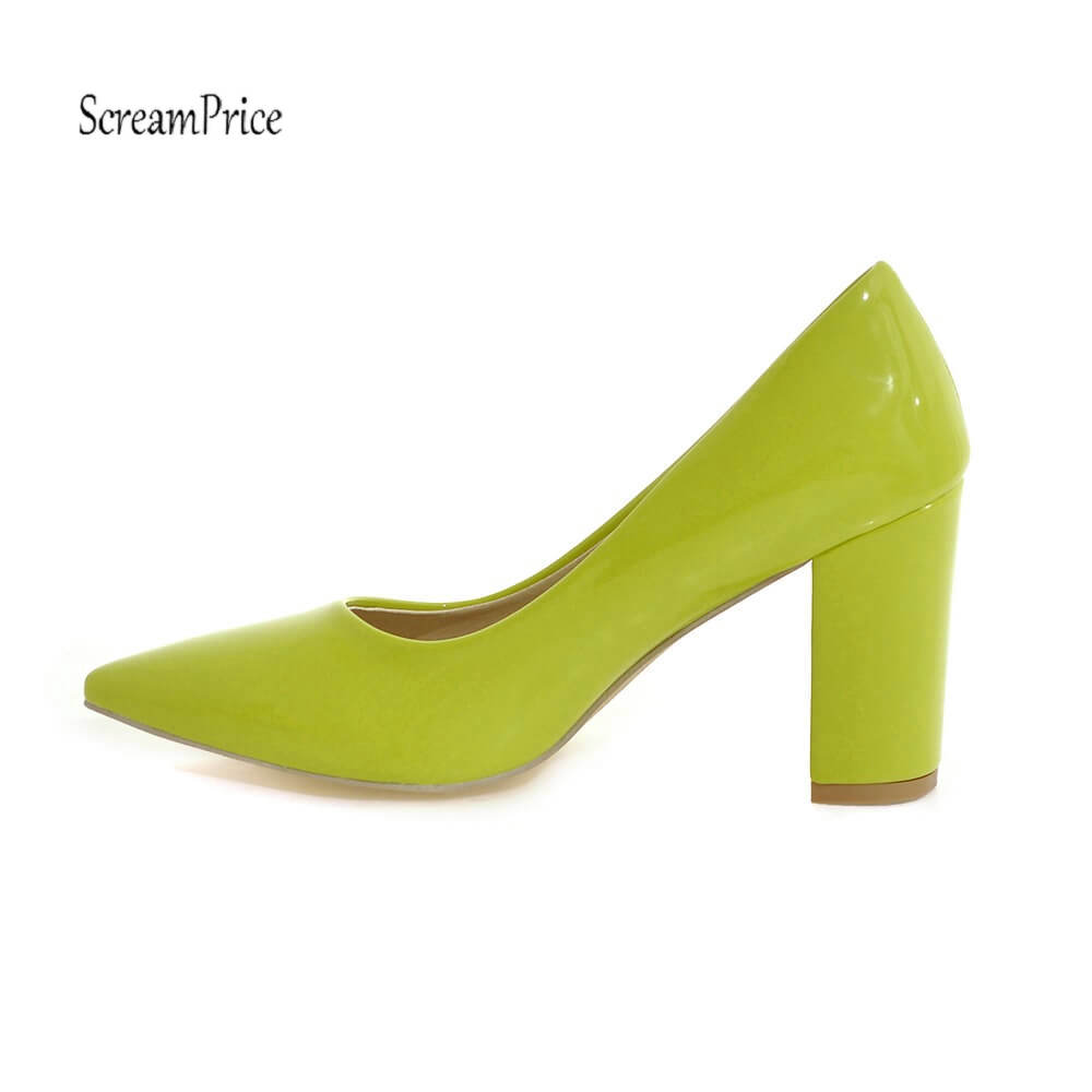 Fashion Pointed Toe Chunky High Heels Patent Leather Women Pumps Dress Lazy Shoes Black White Apricot Red Yellow Color top brand women fashion open toe platform patent leather pumps red nude black formal dress high heels shoes big size 35 46