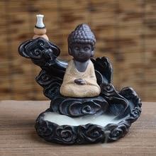 Incense Burner Budha Monk Bullet Blackflow Incense Cones Burner