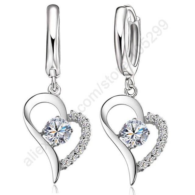 3ed547bc820 JEXXI Crystal Cubic Zirconia Fine Jewellery Set 925 Sterling Silver Real Pure  Heart Pendant Leverback Earrings Drop Accesory