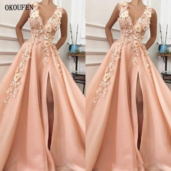 2019   Prom     Dresses   Peach Side Split Saudi Arabic 3D Flowers Sexy Special Occasion Evening Party Gowns vestidos de fiesta largos