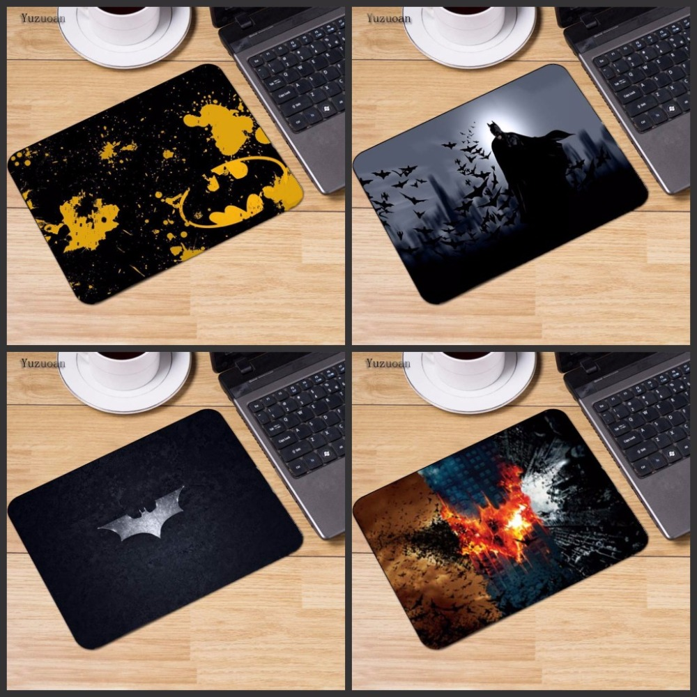 Yuzuoan New Arrival Batman Logo Slim Silicone Laser Mouse Pad Superhero Anti-Slip Mousepad Soft Rubber Mat For Optical Mice