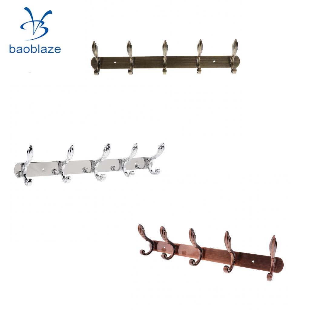 Baoblaze Wall Mounted Hook Door Hanger Coat/Hat/Clothes/Robe/Towel Hook Metal Hanger Rail Rack Holder with 5 Hook