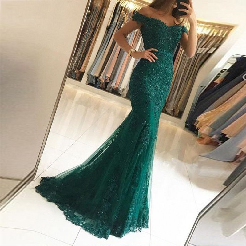 Vestido longo Dark green   evening     Dresses   tulle off the shoulder prom   dress   2019 new year Formal party   dress   Vestido De Noiva