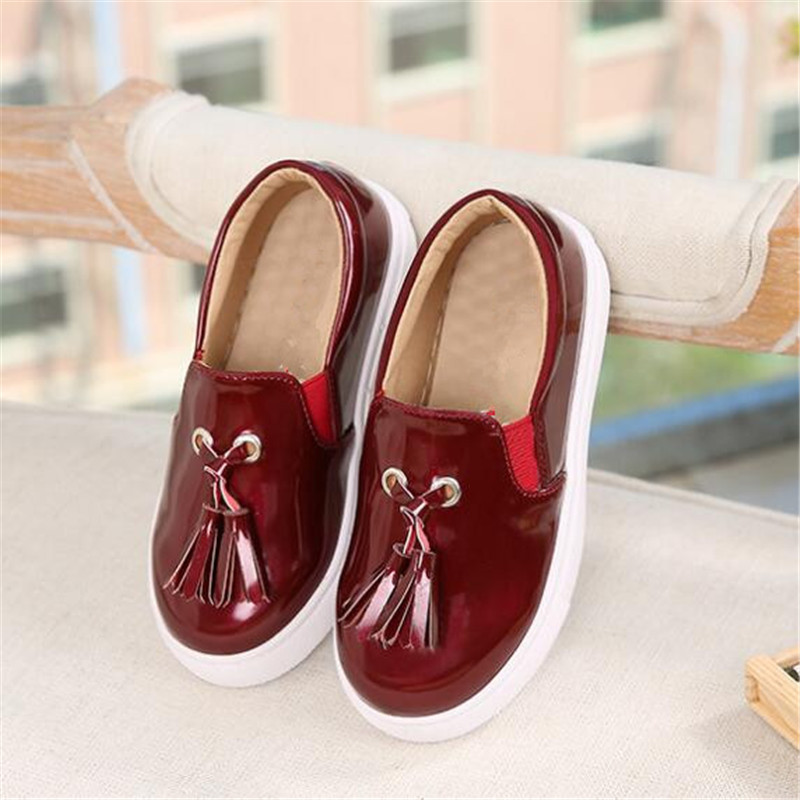 New Children Loafers Breathable Flats Comfortable Casual Patent Leather Fashion Dress Shoes Girls Kids Single Shoes 02A in Leather Shoes from Mother Kids