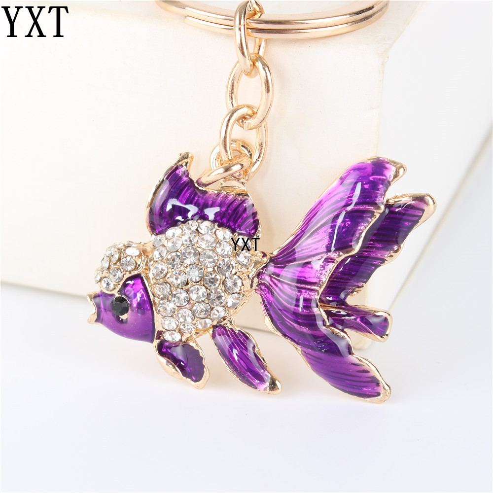 Lovely Purple Goldfish Fish Cute Crystal Charm Purse Handbag Car Key Keyring Keychain Party Wedding Birthday Lover Gift