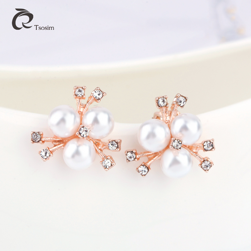 Classic Romantic Pearl Earrings Flower Sides Statement Clip Earring For Women Imitation Pearl Rhinestone Ear Accessories Jewelr in Clip Earrings from Jewelry Accessories