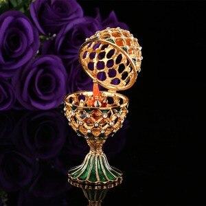 Image 2 - QIFU oeuf de Style russe de luxe, avec ornements artisanaux de petit château, décoration