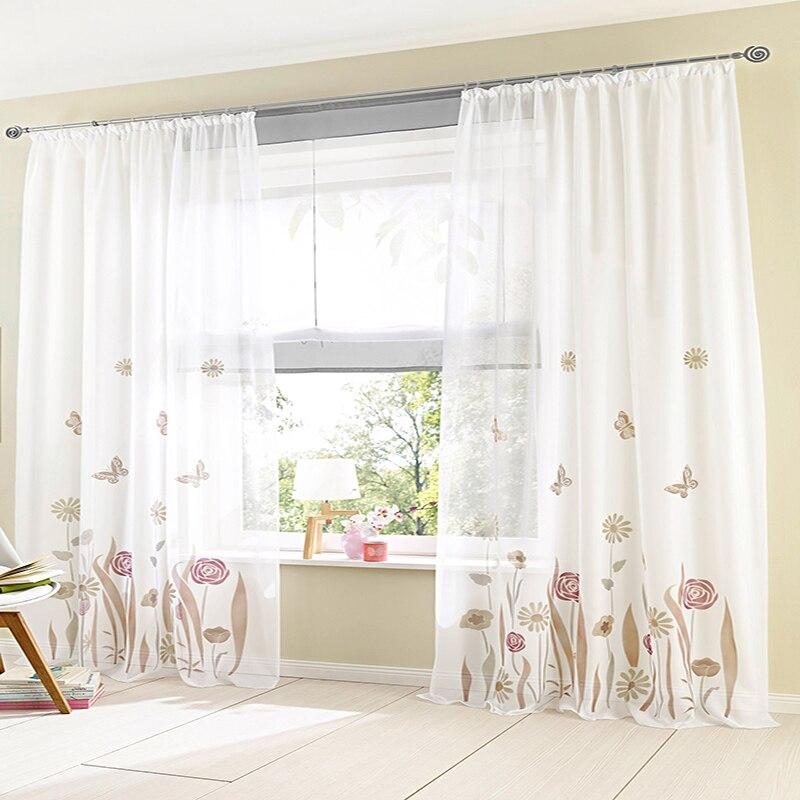 Organza tul rústico flor cortina cenefa patrones ventana cortina ...