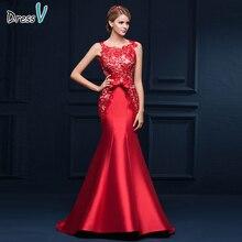 Женское вечернее платье русалка, длинное красное платье без рукавов с глубоким v образным вырезом, с аппликацией и бантом