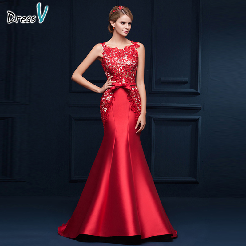 Dressv scoop neck appliques bowknot mermaid long evening dress red sleeveless trumpet formal dress modern mermaid evening dress