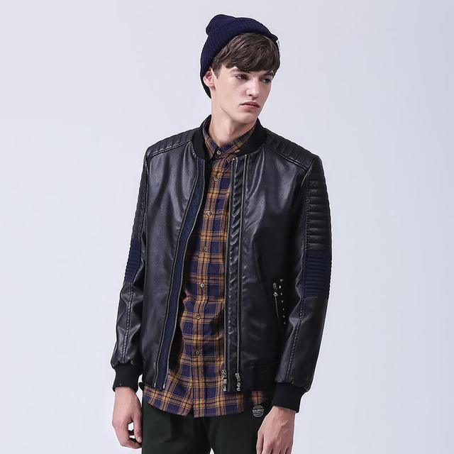 Mens Casual PU Jackets Top Quualtiy Patch Design Brand Clothing For Men Winter Artificial Leather Motorcycle Jacket