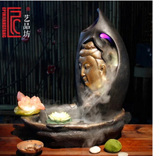 Buddha water fountains. Humidifier. Resin crafts. Zen guanyin fish tank.