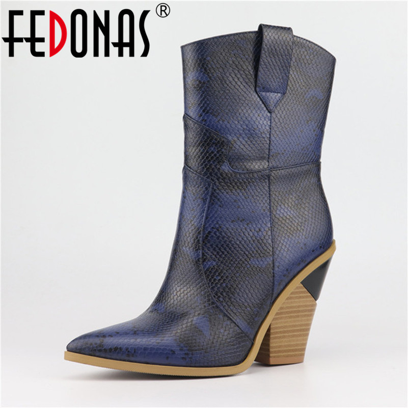 FEDONAS New Brand Women Mid-calf Boots High Heels Pointed Toe Night Club Party Shoes Woman 2019 Quality Microfiber Leather Boot FEDONAS New Brand Women Mid-calf Boots High Heels Pointed Toe Night Club Party Shoes Woman 2019 Quality Microfiber Leather Boot