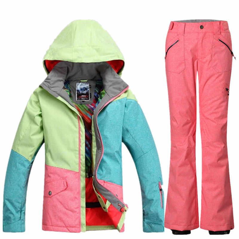 559f7f1487 ... GSOU SNOW Brand Waterproof Ski Suit Women Ski Jacket Pants Winter  Mountain Skiing Suit Ladies Outdoor ...