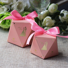 10pcs/lot Sweet Wedding Pink Color Candy Boxes Beautiful Engagement Party Favor Decoration Couple Gift Box With Ribbon
