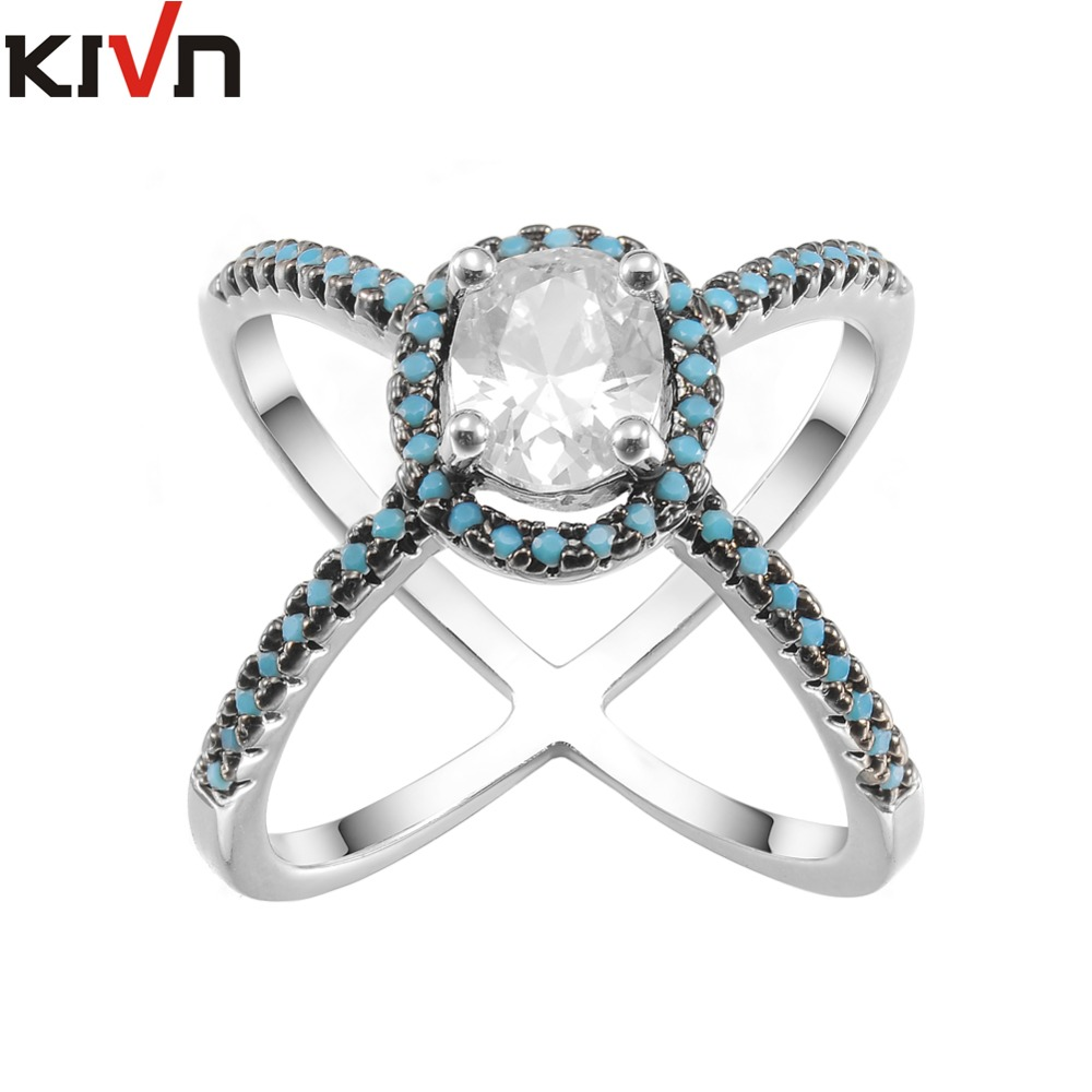 KIVN Fashion Jewelry CZ Cubic Zirconia Engagement Criss Cross X Rings for Women Birthday Gift