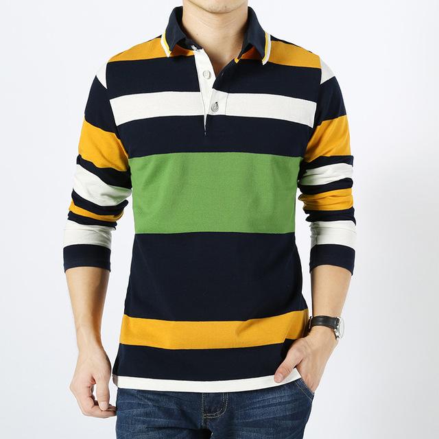 Hombres polo camisa 2016 nuevo otoño invierno de algodón a rayas de manga larga camisa de polo de los hombres de moda de alta calidad de algodón transpirable homme