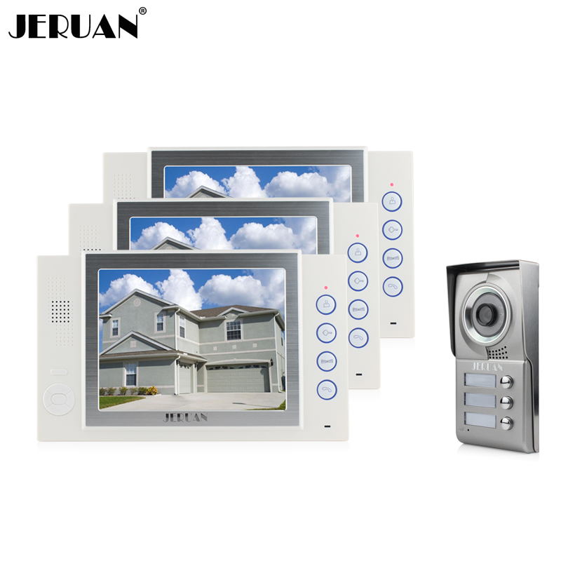JERUAN 8 inch video door phone doorbell intercom system IR kit Camera 3 house 1 outdoor video recording photo taking jeruan 8 inch video door phone high definition mini camera metal panel with video recording and photo storage function
