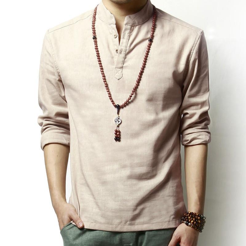 Nyári vászon és pamut egészséges anyagi ing alkalmi férfiak lélegző ing hosszú ujjú szilárd laza szabadidő ingek divat márka