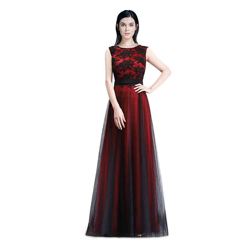 Robe de Soiree Longue Elegant Black Lace Red Prom Dress Long Cheap ...