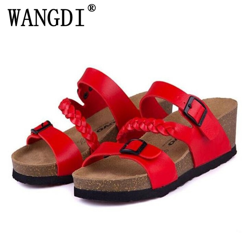 Fashion Women Sandals Wedges Cork High Heels Shoes Gladiator Beach Shoes Summer Slippers Zapatos Mujer Sandalias Plus Size 35-40 women sandal cork slippers summer sandals flats flip flops plus size zapatos mujer sandalias femininas mix color plus size 35 42
