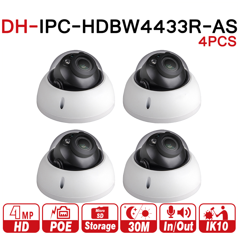 все цены на DH Dome Camera IPC-HDBW4433R-AS 4Pcs/lot 4MP IP Camera Support Audio And Alarm TF Card PoE For NVR CCTV System IK10 IP67 онлайн