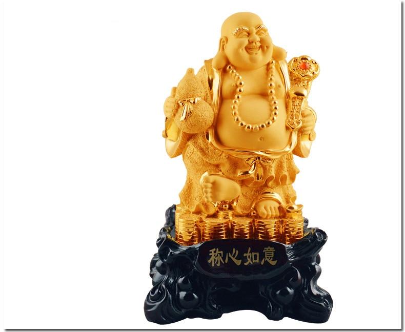 Uśmiechnięte Buddha artykuły wyposażenia wnętrz pozłacane - Wystrój domu - Zdjęcie 6