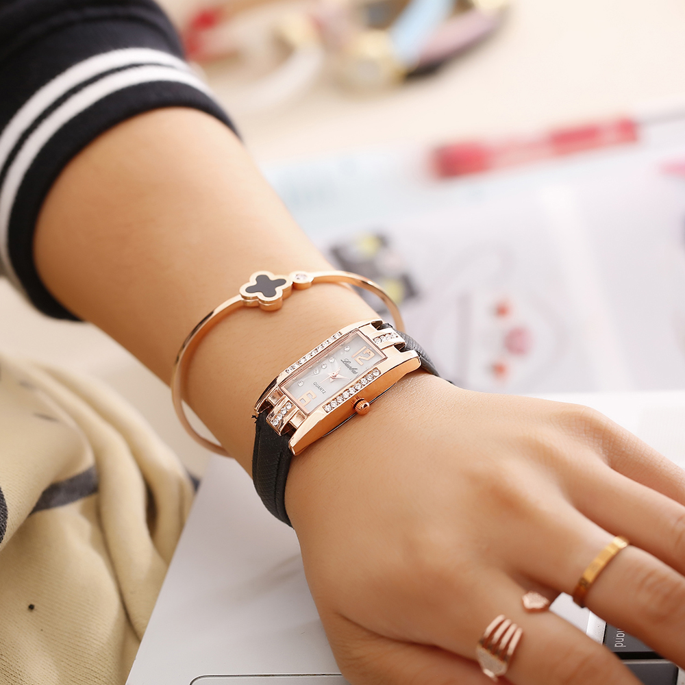 Luobos New Fashion Watch Women Slim Leather Strap Rectangle Casual Quartz Watch Ladies Popular Dress Watch Relogio Feminino цена
