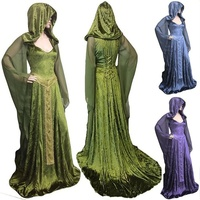 3 Color Halloween Cosplay Costume Vintage High Quality Loose Noble medieval dress Patchwork Witch Long Sleeve Vintage Maxi Dress