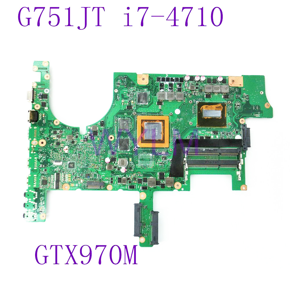 G751JT i7-4710 CPU Motherboard REV 2.5 GeForce GTX 970M 3GB N16E-GT-A1 For ASUS G751 G751J G751JY G751JT G751JM G751JS Mainboard dhl ems advantech industrial motherboard pca 6186 rev a1 with cpu for industry use a1