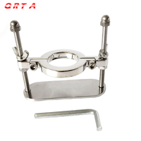 QRTA Male Scrotum Ball Crusher Fixture Stainless Steel Stretcher Testis Scrotum Clamp Torture Ring Device Sex Toy Adult Game