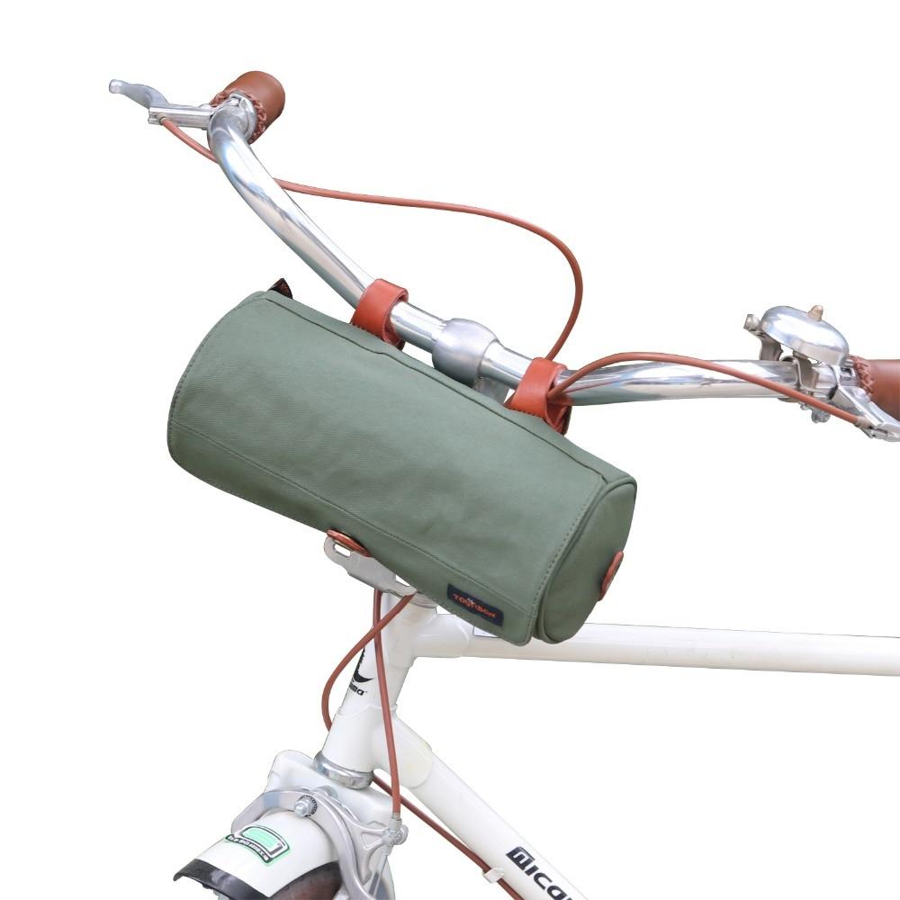 Tourbon Retro Canvas Lenkertasche Top Tube Bag Gewachste Wasserdichte Fahrradkorb Lagerung Grün Fahrrad Zubehör
