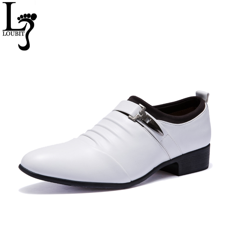 Men Business Shoes 2018 New Fashion Leather Dress Shoes Men's Black White Oxofrds Pointed Toe Office Italian Shoes for Men Flats