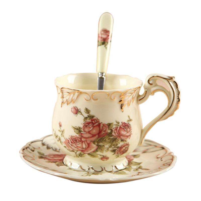 2018 новый набор кофейных чашек расписанная вручную Роза керамическая чашка Европейская кость Китай Классическая посуда для напитков подаро...