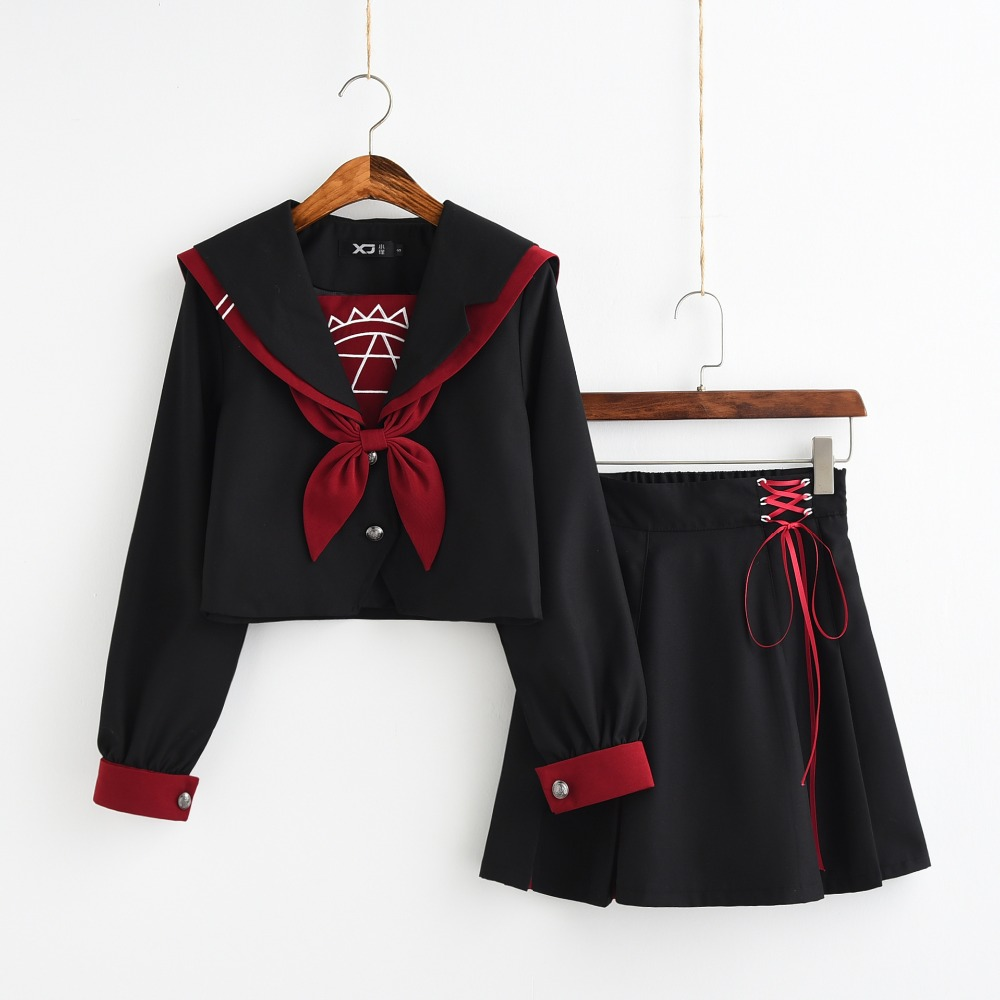 Black Jk Uniform Sailor Suit COS School Wear Women School Uniform Soft Punk Lolita Magic Front Halloween Fashion Costumes