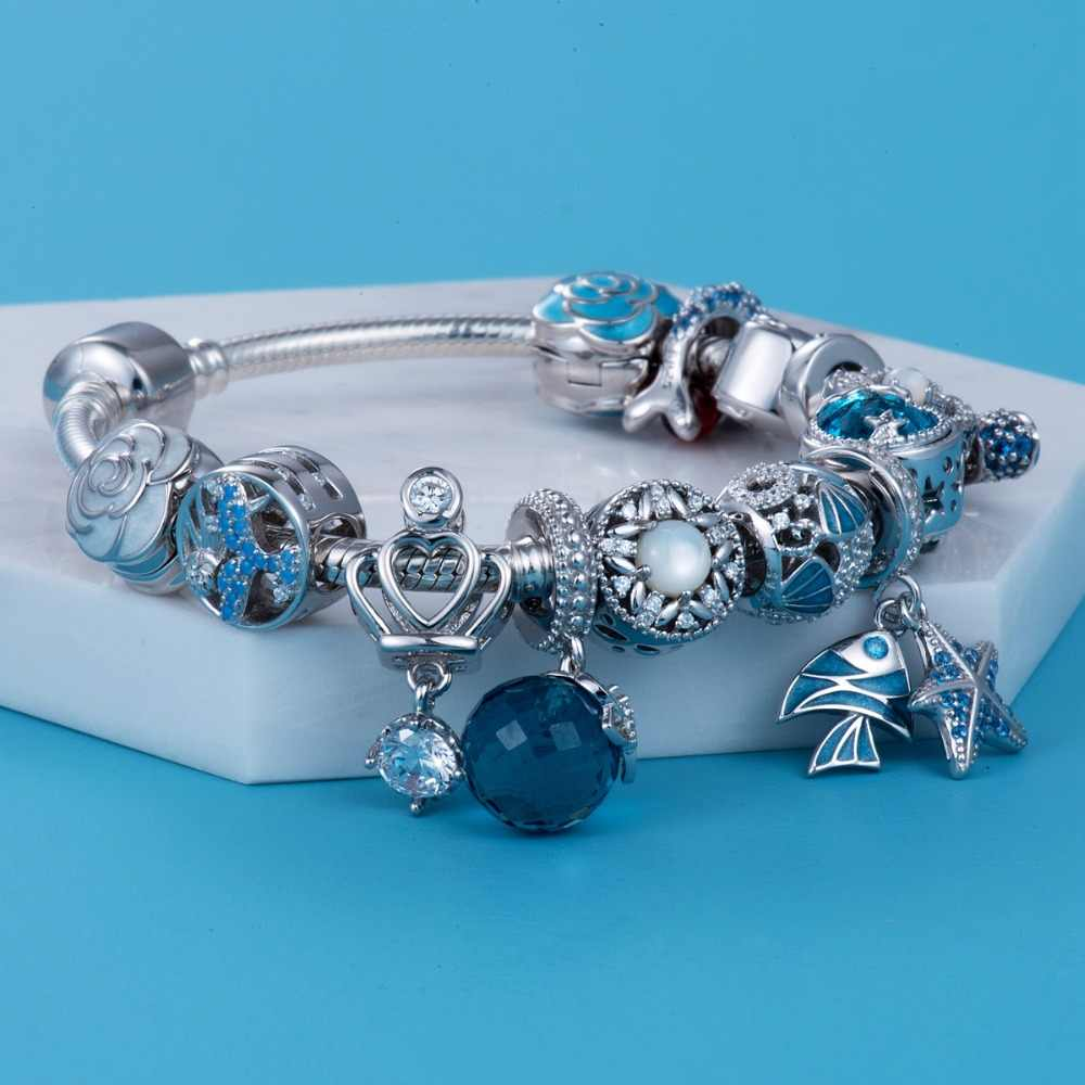 7e28464e1 Blue tropical fish and starfish 925 Sterling Silver beads charms fit  Bracelets Never change ...