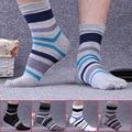5 Pairs/lot Man Cotton Toe Socks Striped Contrast Colorful Patchwork Men Five Finger Socks