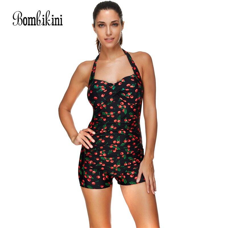 Printed One Piece Swimsuits Shorts Swimwear Women Sport Bathing Suit Halter Neck Bodysuits Push Up Monokini 3XL
